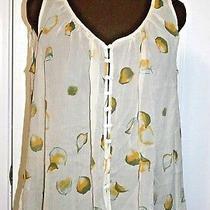 Winter Kate Fay Silk Printed Sheer Top Blouse Xs Ivory Sleeveless Hi-Low Nwt225 Photo