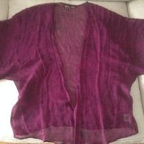 Winter Kate Ginger Cardy Willow Silk Chiffon Purple Floral Kimono Jacket Sz M Photo