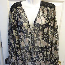 Winter Kate -  Multi Print - Bed Jacket Top -  Vintage Silk Euc Size M Photo