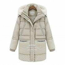 Winter Vogue Women's Long Down Jacket Lamb's Wool Coat Thick 90% White Duck Down Photo