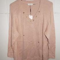 Wja957 Calvin Klein Women's Blush Plus Knit Lace Up Sweater Nwt Size 1x Msrp 99 Photo