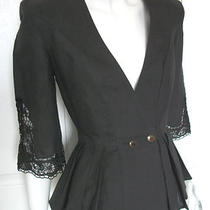 Wmns 2 / 4 Fancy Black Blouse Lace Sleeves by Nancy Johnson Photo