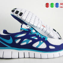 Wmns Nike Free Run  2 Id White-Violet-Aqua Sz 9 Photo