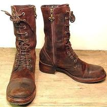 Wms 9 M Donald J. Pliner Gayora Distressed Leather Logger Combat Grunge Boots Photo