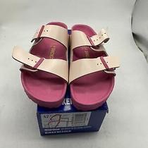 Wms Birkenstock Arizona Icy Metallic Old Rose Leather Sandals Size 42/11 Cy207 Photo