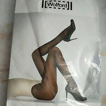 Wolford Satin Opaque 50 Den Luxury Tights Size Large Blue Marlin Pantyhose Photo