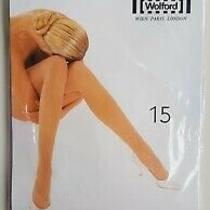Wolford Satin Touch 15 Den Tights L Large Admiral Dark Blue Black B-Sortment Photo
