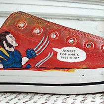 Wolverine Marvel Comic Custom Handpainted Glow Ndark Converse Chuck Taylor Shoes Photo