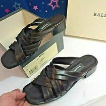 Woman Bally Brown Marida Heel Slide Shoe Size 9.5 M Soft Italian Leather Sandal Photo