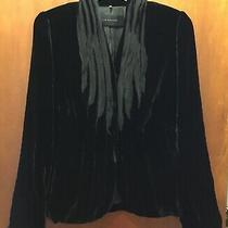 Woman Elie Tahari Black Velvet Silk Trim Button L/s Blazer Jacket Sz 10 Euc Photo