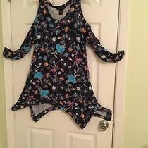 Woman Grace Elements Open Shoulders Asymmetric Multi Floral Dress Size M. Photo