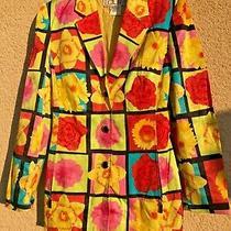 Woman Laurel by Escada Multicolor Artistic Floral Blazer Size 38 Photo