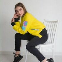 Woman Outdoor Fall Spring Waterproof Bomber Jacket Reflective Elements Yellow Photo
