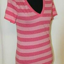 Woman Pink Striped Short Sleeved v Neck Fitted T Shirt Size Small 3/5 Old Navy Photo