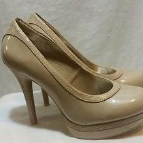 Woman's Baby Phat..pumps Size 8.5 M Taupe/beige Chance Patent Snake Print Photo