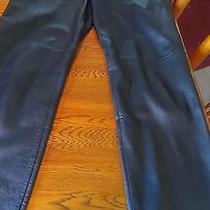 Woman's Black Leather Pants by Valerie Stevens - Waist 30