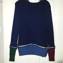 Woman's Boy by Band of Outsiders Multi-Color Zipper Cashmere Hoodie Sweater 2/m  Photo