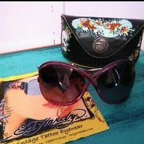 Woman's Ed Hardy Pin-Up Devil Sunglasses Pink Sapphire With Case Cleaning Cloth Photo