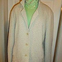 Woman's Eileen Fisher  Soft Structured  Jacket Blazer Size M  Off White Knit Photo