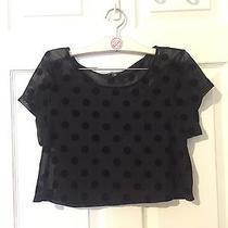 Woman's Express Black Sheer Polka Dot Crop Top Size S Photo