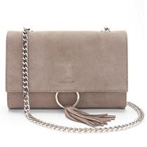 Woman's Express Cross Body Bag Genuine Gray Suede O-Ring Photo