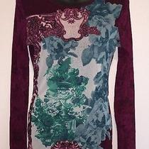 Woman's Express Size M Sheer Long Sleeve Graphic Blouse Photo