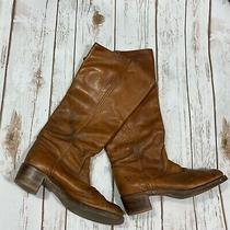 Woman's Frye Size 8 Cognac Leather Tall Stacked Knee Boot Brown Photo