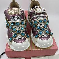 Womans Gucci Flashtrek Sneakers Removable Crystals Size 38  Made in Italy Photo