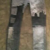 Woman's Hudson Denim Jean Pants With City Scape Painted on Pants Size 28 Photo