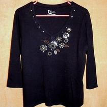 Woman's M Embellished Knit Top by Classic Elementsblack/silver Photo