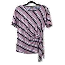 Womans Madison & Hudson Multicolored Striped Side Tied Top Size Large Photo