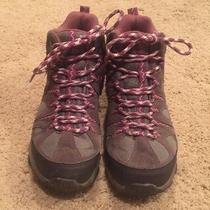 Woman's Merrell Boulder Blushing Gray/pink Waterproof Hiking Boots Size 8 Euc Photo