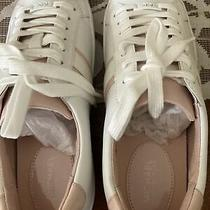Womans Michael Kors White Leather Lace Up Powder Blush Sneaker sz.8 M Nib Photo
