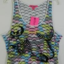 Woman's Nwt 48 Betsey Johnson Skeleton Mermaid Aqua Tank Top Blouse S Photo