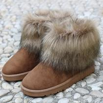 Woman's Pu Leather/fur Winter Imitation Fox Wool Boots Keep Warm Snow Boots P51 Photo