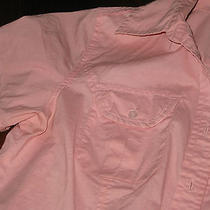 Woman's Short-Sleeved Top Talbots Solid Pink 96% Cotton 4% Spandex Size P Photo