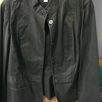 Woman's Talbots Black Blazer Jacket Sz 16 Stretch Button Up Cute Euc Photo