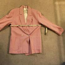 Womans Thomas Burberry Blazer Coat White/ Red Stripe. Size Tag S/reg Photo