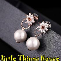 Woman Sweet Girl Pearl Flower Stunning Zircon Rose Gold Plated Earrings Ear Drop Photo