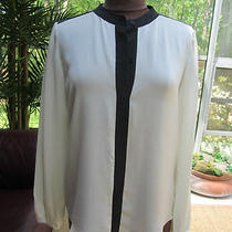 Womans Blouse Theory Cream & Black Silk Blouse Top Size L Photo