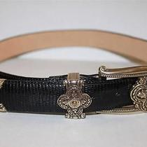 Womans Brighton Western Leather and Chrome Belt - S 28 - Bling Photo