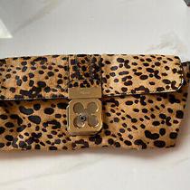 Womans Chloe Clutch Bag Leopard Print Black and Tan  Photo