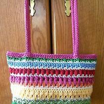 Womans Crochet Design Purse by the Sak Nice Pretty Bright Colors Pink White  Photo
