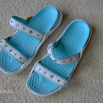 Womans Decorative Aqua and White Sandals - Sz 10 Photo