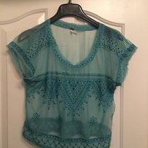 Womans Free People Green See Through Blouse Size Small  Photo