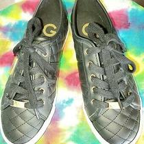 Womans Ggbacker2 by Guess Black Quilted Faux Leather Sneaker With Gold  Size 8 Photo