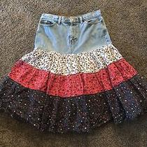 Womans Jean Peasant Style Red White and Blue Skirt Size 8 by Gap 1 Photo