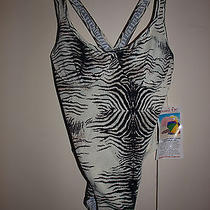 Womans Nwt White Tiger Shape Fx One Piece Swimsuit 10 by Newport News  Photo