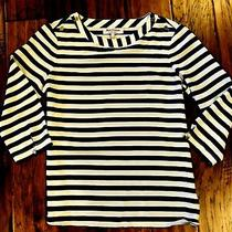 Womans Sheer Navy Striped Top Juicy Couture 3/4 Sleeve Size 6 Photo