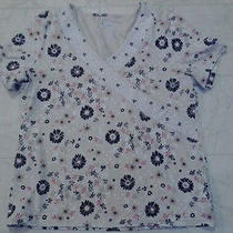 Womans Shirt by Classic Elements Tan Flowered Size Large Cute  Photo